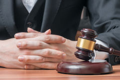 Lawyer with auction gavel. Justice and legislation concept Stock Photo