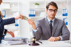 The lawyer being offered bribe for his services. Lawyer being offered bribe for his services Royalty Free Stock Photo