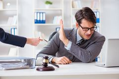 The lawyer being offered bribe for his services. Lawyer being offered bribe for his services Royalty Free Stock Image