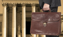 A lawyer with a briefcase royalty free stock photos
