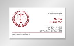 Lawyer business card design template with burgundy scales silhouette in. A wreath frame on white background royalty free illustration
