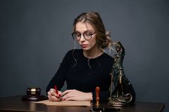Lawyer business women working and notary signs the documents at office. consultant lawyer, justice and law ,attorney. Business woman working and notary signs the royalty free stock photos
