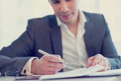 Lawyer or businessman about to sign a contract or agreement Stock Photo