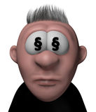 Lawyer cartoon guy. Cartoon guy with paragraph symbols in his eyes - 3d illustration Royalty Free Stock Image