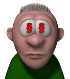 Lawyer cartoon guy. Cartoon guy with paragraph symbols in his eyes - 3d illustration Stock Images