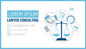 Lawyer consulting. Justice scales. A business card template of a law firm or company. Flyer legal services. Illustration royalty free illustration