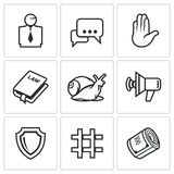 Lawyer and court hearing icons set. Vector Illustration. Stock Photos