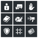Lawyer and court hearing icons set. Vector Illustration. Stock Image