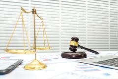Lawyer desk courtroom with gavel. stock photography