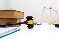 Lawyer desk room office with gavel equipment. royalty free stock images