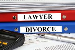 Lawyer and divorce files on a desk royalty free illustration