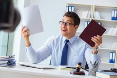 The lawyer doing legal webcast for channel subscribers Royalty Free Stock Photography