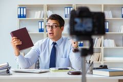 The lawyer doing legal webcast for channel subscribers Royalty Free Stock Image