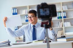 The lawyer doing legal webcast for channel subscribers Stock Photos