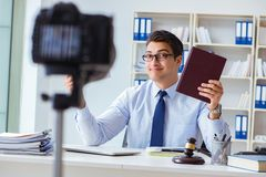The lawyer doing legal webcast for channel subscribers Royalty Free Stock Photos