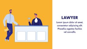 Lawyer Flat Vector Web Banner with Text Space stock illustration