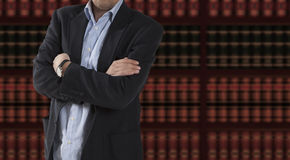 Lawyer in front of bookcase Stock Photography