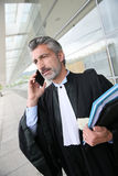 Lawyer in front of the courthouse talking on the phone Stock Photography