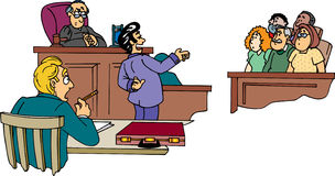 Lawyer in front of jury. Shyster lawyer addressing the jury Stock Image