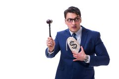 The lawyer with a gavel and a moneybag money bad isolated on white stock photos