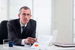 Lawyer on his workplace. Lawyer or notary public at contemporary office royalty free stock images
