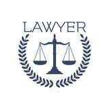 Lawyer icon, justice scales, laurel wreath emblem Royalty Free Stock Photo