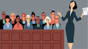 Lawyer and jury. Female attorney address the jury at a trial, EPS 8 vector illustration Stock Photo