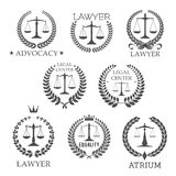 Lawyer and law office icons with scales of justice Stock Image