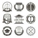 Lawyer and law office logo, emblem labels vector