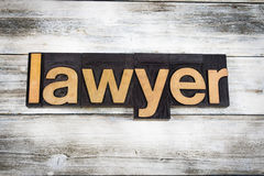 Lawyer Letterpress Word on Wooden Background Stock Photography