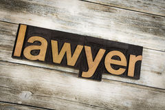 Lawyer Letterpress Word on Wooden Background Royalty Free Stock Photography