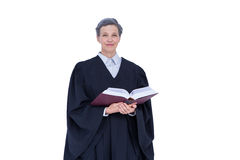 Lawyer looking at camera and holding law code Stock Image
