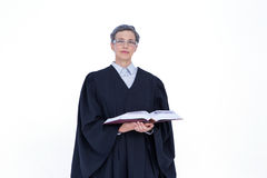 Lawyer looking at camera and holding law code Royalty Free Stock Images