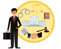 Lawyer. Man lawyer. Icon set law. Vector illustration Royalty Free Stock Images