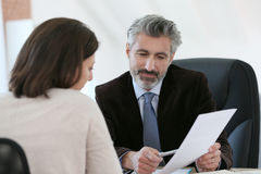 Lawyer meeting client in his office Stock Photo