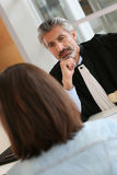 Lawyer meeting client at his office Stock Photography