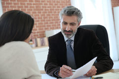 Lawyer meeting client in office. Attorney meeting client in office Royalty Free Stock Image