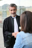 Lawyer meeting client before trial Stock Photos