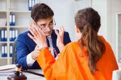 The lawyer meeting his client in prison. Lawyer meeting his client in prison Royalty Free Stock Image