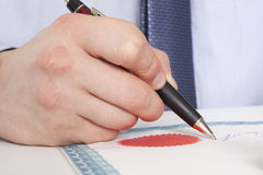 Lawyer, notary. Signs the documents from our office royalty free stock photos