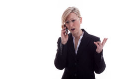 Lawyer on the phone is angry Stock Image