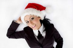 Lawyer Posing With Christmas Hat Royalty Free Stock Photos