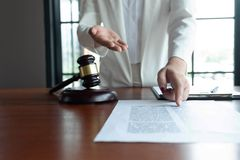 The lawyer provides advice, advice, legal proposals. Examination of legal documents.  royalty free stock images