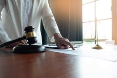 The lawyer provides advice, advice, legal proposals. Examination of legal documents.  royalty free stock photography