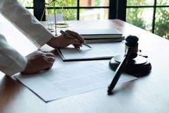 The lawyer provides advice, advice, legal proposals. Examination of legal documents.  royalty free stock photo