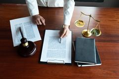 The lawyer provides advice, advice, legal proposals. Examination of legal documents.  stock photos