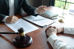 The lawyer provides advice, advice, legal proposals. Examination of legal documents.  royalty free stock image