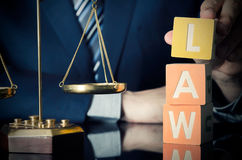 The lawyer puts LAW word. Attorney and lawyer concept Royalty Free Stock Photography