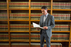Lawyer reading book in the law library. At the university Royalty Free Stock Photo