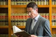 Lawyer reading book in the law library Stock Photo